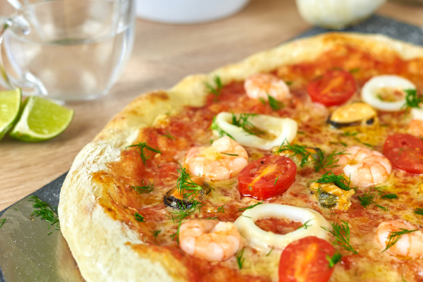Pizza Käse der Fäden zieht